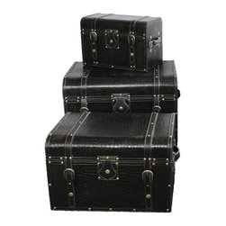 Large Storage Trunks Set of 3 - Black Leather - Our warm and welcoming steamer trunk brings back days of old time. Remember how excited you are when you were a little kid to look into your grandma's old chest, our decorative trunks will bring back those memories and help you create some new ones too. Our hope chest boxes are all handcrafted and tailored to enhance the existing decor of any room in the home. Great to use for your very own treasure chest!