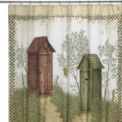 Avanti - Avanti Outhouses 72-Inch x 72-Inch Shower Curtain - The charming styles and old-fashioned designs of this shower curtain will be a delightful addition to the bathroom. Pair with the Outhouses bath ensemble to complete the theme.