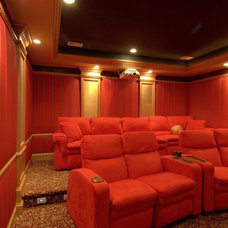 Eclectic Home Theater by Monetti Custom Homes