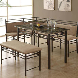 "Monarch - Cappuccino Marble / Bronze Metal Corner 3Pcs Dining Set - This three piece dining set offers a unique look that will add pizzazz to your kitchen. This rectangular table features a solid cappuccino marble top, a convenient corner tray and sturdy bronze metal legs. The ""L"" shaped bench-chair and bench are cushioned for comfort, and provide enough space ideal for family meals. This original set can be placed perfectly into a corner and will help create a rich ambiance in your eating area.; Color: Cappuccino; Country of Origin: China; Weight: 47.25 lbs; Dimenions: 27.75""L x 30.5""W x 39.6""H"