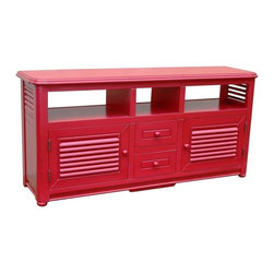 EuroLux Home - New Entertainment Center Red Painted - Product Details
