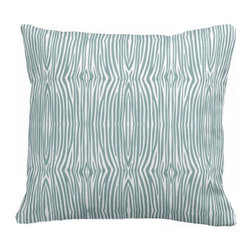 PURE Inspired Design - Mini Zebra Organic Cotton Fabric 18 x 15 Pillow in Light Teal/Natural - You don't have to travel to the savanna to find big game. This cheeky adaptation of a classic zebra stripe is printed in color on washable organic cotton, and comes with a down insert for long-lasting comfort. Knife edges and a hidden zipper keep things looking crisp and tidy.