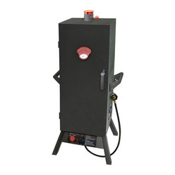 Landmann - Gas One Door Vertical Smoker 36 in. - 21 in. L X 21 in. W X  45.25 in. H (68.2 lbs). Primary cooking Size:  784 sq. in. BTU:  16,000 . Large full size door with welded hinges for complete access to add wood and water and to check on food. Magnetic door closing system. Fully adjustable heat control; Front door temperature gauge. Adjustable top chimney and side damper vents with plastic tab guards for optimum temperature control. Large nylon plastic door handle. Two large steel wide grip side carrying handles. 4 adjustable chrome plated cooking grates. Includes porcelain coated steel water pan and heavy duty steel wood chip box w/ lid. Includes grease pan. Square, wide stance legs for stability. Rotary igniter. Heavy duty steel construction with easy assembly. Cast brass burner for long life.  Distributes heat more evenly;  Will not rust; 10 year warranty