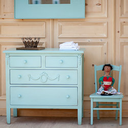 Bradshaw Kirchofer Beautiful Blue - Our Mary Jane Dresser is a feminine piece with pretty appliqués. This piece comes standard with wooden knobs, but traditional glass knobs can be added for a lovely, romantic accent. The Mary Jane Bedroom Collection brings the charm of vintage chic to your home. Crafted using traditional mortise and tenon joinery.