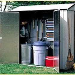 Arrow Storage Locker 7 x 2 ft. - When enjoying your yard, it seems as though you never have what you need within arms' reach, unless of course you have an Arrow Storage Locker 7 x 2 ft.. This storage locker is perfect for stowing and storing lawn equipment, gardening tools, athletic equipment, or even holiday decorations. The wide-swinging double doors allow you quick and easy access to the entire container's contents, while the shallow footprint enables you to squeeze it up against the house, garage, or anywhere that is most convenient for your use. With four interior shelves and a tool rack for long- or short-handled tools, this locker is easy to keep in shipshape order, making it that much simpler to locate necessary items. The handsome look of the eggshell and coffee color combination also adds a crisp clean appearance that compliments any exterior design or landscaping. And the slightly sloped roof prevents water from pooling on top. Made in the United States, this shed is constructed with electro-galvanized steel, making it affordable, durable, and attractive. With numbered and predrilled parts, this shed can be assembled quickly and easily as a weekend project with basic DIY skills.Additional Features:Exterior Dimensions: 87.25W x 28.5D x 81.63H inchesInterior Dimensions: 83.88W x 25.5D x 81H inchesDoor Dimensions: 50.25W x 69H inchesFour 35.75W-inch shelvesAbout Arrow ShedsEstablished in 1962 as Arrow Group Industries, Arrow Sheds is now the worldwide leader in designing, manufacturing, and distributing steel storage sheds that are easily assembled from a kit. Arrow Sheds hasn't garnered its 12 million customers by resting on its laurels either. The company takes great pride in having listened to their customers over the years to develop quality products that meet people's storage needs. From athletic equipment to holiday decorations, from tools to recreational vehicles, Arrow Sheds prides itself on providing quality USA-built structures that offer storage solutions. Available in a wide variety of sizes, models, finishes, and colors - Arrow's sheds are constructed with electro-galvanized steel to be more affordable, durable, attractive, and easy to assemble.