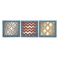 """Benzara - The Unique Wood Wall Plaque 3 Assorted - Are you looking to spruce up your walls? Looking for something that will add a deft touch to your walls? Well, now you can do just that by attaching these wood wall plaques. Made from wood with a distressed texture and a mirrored background, these plaques have simple but unique designs on their surfaces. Perfect for the living room, they will give the wall they are attached to definition and a wholeness that bare walls do not and cannot possess.But don't go by their distressed look; these indeed are brand new products made from quality materials; this ensures that they will last with you for years to come. All the guests will be impressed, and complements will flood in your way. These wall plaques will be as perfect for traditional decors as they will be for modernG��they are too good to be overlooked. . Wood wall plaque 3 assorted dimensions: All 3 plaques: 13 inches (W) x 1 inch (D) x 13 inches (H); Wood wall plaque color: Assorted; Made from: Wood; Dimensions: 13""""L x 6""""W x 15""""H"""