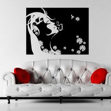 Wall Decals-Wall Stickers - Floral Swirled Girl