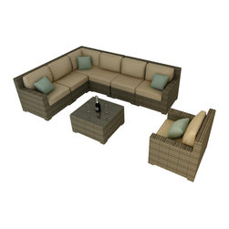 Forever Patio - Hampton 8 Piece Wicker Outdoor Sectional Set, Heather Wicker and Tan Cushions - The Forever Patio Hampton 8 Piece Patio Wicker Sectional Set with Tan Sunbrella cushions (SKU FP-HAM-8SEC-HT-BE) is sure to be the center of your next outdoor get-together. The set seats 6 to 7 adults comfortably, and features Heather resin wicker, which is made from High-Density Polyethylene (HDPE) for outdoor use. Each strand of this outdoor wicker is infused with natural color and UV-inhibitors that prevent cracking, chipping and fading ordinarily caused by sunlight, surpassing the quality of natural rattan. Each piece features thick-gauged, powder-coated aluminum frames that make the set extremely durable. Also included with the set are fade- and mildew-resistant Sunbrella cushions. The comfort and quality of this outdoor sectional set will make you feel like your living room has moved outdoors.