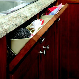 Tip Out Tray - Keep your sink essentials handy yet out of view with a tip out tray from ShelfGenie.  The tip out tray makes the false front in front of your sink functional, allowing you to store your sponges, scrubbers and and dish rags right where you need them.