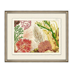 Frontgate - Orange Reef III - High-quality reproduction of an original illustration. Deckled and floated on an off-white linen-textured mat. Silver leaf frame. Arrives ready to hang. A multitude of textures, shapes and angles combine to create our stunning Coral Reef Framed Wall Art. Rich corals and dark cranberry reds mingle with light yellow and chanteuse to create a captivating aquatic presentation that can be displayed either by itself or as part of a six-piece set. . . . .