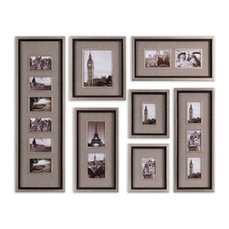 Uttermost - 7 Pc Set Massena Photo Collage Wall Art - Designer: Grace Feyock. Photos are surrounded by oatmeal Linen mats. May be hung horizontal or vertical. Frames features a lightly antiqued Silver leaf finish with a matte Black liner. Holds photo sizes: 11 4x6, 1 8x10, 4 5x7. Frame sizes:. 13 in. L x 40 in. H. 15 in. L x 16 in. H. 11 in. L x 27 in. H. 12 in. L x 22 in. H. 11 in. L x 13 in. H