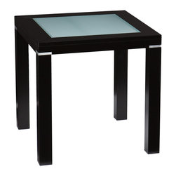 Holly & Martin - Phoenix End Table - The smooth, contemporary design of this end table will add style and dimension to your living room. This end table features a lovely painted black finish and squared form. A frosted glass inset contrasts the black frame for a superb appearance; small silver accents between the legs and table top complete the balanced design. This end table looks great in family rooms or living rooms with transitional or modern decor. It also works as night stand or bedside table, and the linear form works well for rooms large or small. The handcrafted touch of artisan skill also creates variations in color, size, and design; slight differences should be expected.