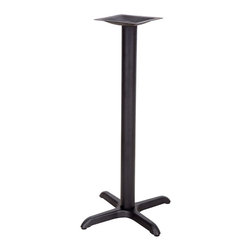 "Flash Furniture - 22'' x 22'' Restaurant Table X-Base with 3'' Bar Height Column - Complete your restaurant, break room or cafeteria with table bases and coordinating table tops. This table base is designed for commercial use so you will be assured it will withstand the daily rigors in the hospitality industry. Whether you are just starting your business or upgrading your furniture this table base will complete the look.; Restaurant Table Base; X-Base Configuration; Cast Iron Construction; Easy 2-Piece Assembly with Single Bolt; Top Plate Pre-Welded to Column; Black Powder Coated Finish; Available in Table Height or Bar Height; Designed for Commercial Use; Designed for 24"" to 30"" Round and Square Table Tops; Assembly Required: Yes; Country of Origin: China; Warranty: 2 Years; Weight: 17 lbs.; Dimensions: 42""H x 22""W x 22""D"
