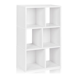 Way Basics - Way Basics 3 Shelf Laguna Bookcase, White - This modern, minimalist bookcase fits anywhere for storage and display. It's light enough to move with your moods, blends with any decor and is strong enough to hang tough when the holding gets heavy. Open-back design for extra convenience, super simple peel-and-stick assembly and formaldehyde- and VOC-free.