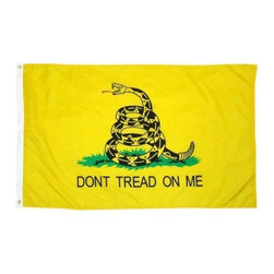 Zeckos - Heavy Duty Nylon Gadsden Flag 3 Foot x 5 Foot Tea Party - This awesome 5 foot by 3 foot gadsden flag is made of 210 denier nylon. It has a canvas header, a triangle stitch on each corner and 4 lines in the fly end, all of which help the flag last longer, without unraveling or shredding. It has brass grommets, and comes with 2 brass outrigger clips to secure the flag to your halyard. It makes a great gift for Tea Party members.
