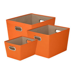 Honey Can DO - Orange Storage Bins, Set of 3 - Designed to hold everything from books to toys to bathroom essentials, this orange set of 3 storage bins add plenty of extra storage and a pop of color to any room. Great for car trunks, kids rooms, closets, shelving units, and more.