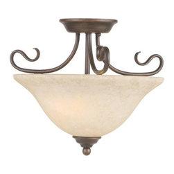 Livex Lighting - Livex Lighting 6121 2 Light 200W Semi-Flush Ceiling Light with Medium Bulb Base - 2 Light 200W Semi-Flush Ceiling Light with Medium Bulb Base and Vintage Scavo Glass from Coronado SeriesProduct Features: