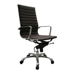 J&M Furniture - J&M Furniture Comfy High Back Brown Office Chair - This modern office chair features a leatherette seat and back in your choice of color. Its leather is perfectly complemented by a chromed steel frame and an aluminum base and armrests. This High Back Office Chair conveniently tilts and swivels. It also features a knee tilt mechanism and a gas lift making it easily height adjustable. The High Back Office Chair's quality construction makes it suitable for commercial use.