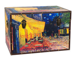 Oriental Furniture - Van Gogh's Cafe Terrace Trunk - Van Gogh's vision of a Cafe Terrace at Night looks brilliant on this high quality canvas trunk. A French cafe serves its patrons under yellow lantern light while passers-by stroll down the cobblestone streets illuminated in pinks and violets, under the soothing blues of the starlit sky. Cleverly arranged to fit each side of this trunk, this new interpretation of Van Gogh's classic work looks fantastic from front, back, top, and both sides. Printed on durable, art-quality canvas, stretched around sturdy kiln-fired wood, and reinforced with handsome faux leather edges, this chest's striking look is built to last. Lightweight and durable with two separate handles, this trunk is hassle-free to move, and you can rest easy knowing that your treasures are protected in it spacious interior by the soft fabric lining. A convenient, inconspicuous interior arm holds the lid when you need the trunk open, and a pair of external closures keep it shut tight when you don't. Perfect for anywhere your decor could use a hint of starlight romance, this chest is a pleasure to hold and behold.