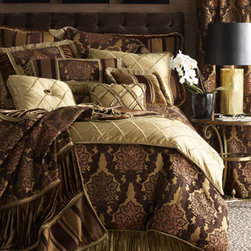 "Dian Austin Couture Home - Dian Austin Couture Home King Damask Duvet Cover, 108"" x 95"" - Damask duvet cover is made in the USA of European-woven acrylic/polyester/viscose. Dry clean."