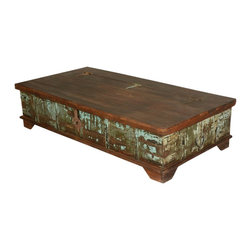 Mediterranean Rustic Reclaimed Wood Storage Trunk Coffee Table - Inspired by the traditional elements of a artisan crafted vintage style, we offer you Mediterranean Rustic Reclaimed Wood Storage Trunk Coffee Table.