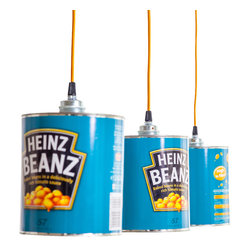 EcoFirstArt - Heinz Beanz can light - Pop art lovers will appreciate these fun pendant lights. Using recycled Heinz Beanz cans as the shade, the lights add unforgettable style to the kitchen or dining room. Each can features the everyday charm of the classic blue Heinz label and a nice long cable so you can add visual interest wherever you need it.