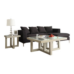 Homelegance - Homelegance Guerrero 2-Piece Square Glass Coffee Table Set in Cool Grey - The highly contemporized styling of the Guerrero collection will blend perfectly with your modern decor. Inset glass gives you a clear view of the geometric framework, making the table collection not just a functional piece of furniture but art as well. The oak veneer is complimented by a cool grey finish further lending to the modern feel.