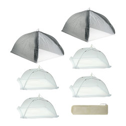 None - Mr. BBQ Cabana Style 7-piece Food Tent Kit - Protect your food from the sun and insects with these sturdy food tents. Each tent has a mesh side that allows you to see what is underneath, and the set comes with two large tents, four smaller ones, and a carrying case, which is ideal for picnics.