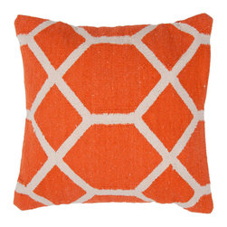 Orange Patterned Pillow - Add a splash of color and pattern with this stylish patterned pillow. This hand-woven 100% cotton pillow has just enough pizazz to liven up your living room without going overboard. Add one to your neutral or solid-color couch or armchair. Made in India.