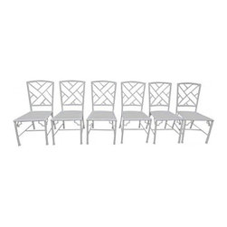 CHIPPENDALE CHAIRS - We found a little bit of Palm Beach in the West Village in these vintage Chippendale Chairs, reviving 1970's Hollywood regency. In good vintage condition, these six chinoiserie white-lacquered chairs are a timeless decorating staple.