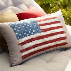 Painted Flag Outdoor Lumbar Pillow - These pillows are the perfect way to add a striking statement to your Fourth of July party decor. Create a welcoming chill-out area for your guests by buying them in multiples and stacking them high. You could even offer them as party favors as they are a fun and fitting way to remember the day.