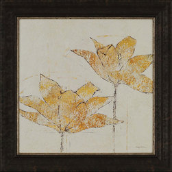 Paragon Decor - Fragile II Artwork - Golden florals float gently on a neutral background.