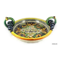 Artistica - Hand Made in Italy - Venezia: Flat Bowl Centerpiece - Majolica Venezia Collection: