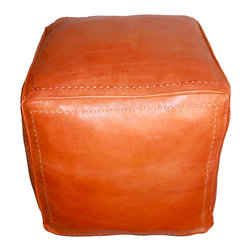 Badia Design Inc. - Moroccan Square Leather Ottoman, Orange - Our Moroccan Leather Ottoman can be used as seating, footstool or decoration in any room in your home or office.