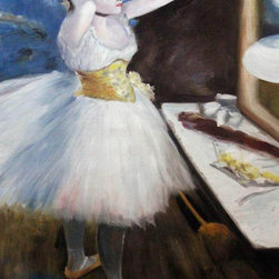 """overstockArt.com - Degas - Dancer in Her Dressing Room - 24"""" X 36"""" Oil Painting On Canvas Hand painted oil reproduction of a famous Degas painting, Dancer in Her Dressing Room. The original masterpiece was created in 1879. Today it has been carefully recreated detail-by-detail, color-by-color to near perfection. Edgar Degas was born in Paris in 1834 and studied art from a young age. His most popular paintings were and still are his ballerina paintings like The Dance Class , Star Dancer (On Stage) , and Dance Studio at the Opera . Asymmetrical compositions like Two Dancers on Stage show the influence of the Japanese prints in which Degas became interested. His painting career was prematurely ended by failing eyesight, and he died in Paris in 1917. This work of art has the same emotions and beauty as the original. Why not grace your home with this reproduced masterpiece? It is sure to bring many admirers!"""