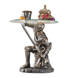 """EttansPalace - 19"""" Medieval Knight Statue Sculptural Glass Topped Side Table - Brave in battle and gallant in service, our exclusive knight is cast in quality designer resin with a rich, two-toned metallic finish that highlights the incredibly detailed, heraldic-embellished sculpt. This artistic work is shown to true advantage beneath an 18""""-diameter, 3/8""""-thick, pencil-edged glass top."""