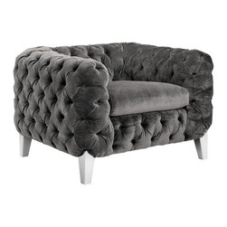 Luxurious Tufted Armchair with Stainless Steel Legs, Bella Shale Grey - Luxurious Tufted Armchair with Stainless Steel Legs