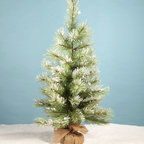 "Snowy Pinecone Tree 30"" - One can never have too many decorative trees during the holidays, this 30"" high tree is made to look as if it was just brought in from a winter morning outside, its roots bagged in a burlap sheath. Real pinecones accentuate the tree and is perfect for adorning with your favorite seasonal ornaments."