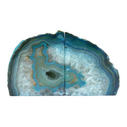 Crystal Allies TM Gallery Pair of Polished Agate Geode Halves Bookends, Teal
