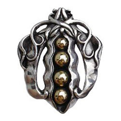 """Inviting Home - Peapod Knobs (solid sterling silver with 14K gold peas) - Hand-cast Peapod Knob in solid sterling silver with 14K gold peas finish; 1-1/2"""" x 2""""H Product Specification: Made in the USA. Fine-art foundry hand-pours and hand finished hardware knobs and pulls using Old World methods. Lifetime guaranteed against flaws in craftsmanship. Exceptional clarity of details and depth of relief. All knobs and pulls are hand cast from solid fine pewter or solid bronze. The term antique refers to special methods of treating metal so there is contrast between relief and recessed areas. Knobs and Pulls are lacquered to protect the finish. Alternate finishes are available."""