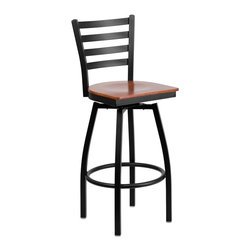 Flash Furniture - Flash Furniture Restaurant Seating Metal Restaurant Barstools - This stylish swivel bar stool will compliment any Home, Restaurant, Lounge or Bar. The 360 degree swivel seat allows you to swing around effortlessly. The wood seat is easy to clean for quick customer turnovers in restaurants. The heavy duty frame makes this stool perfect for commercial or home usage. This attractive stool will add to your casual or elegant setting. [XU-6F8B-LADSWVL-CHYW-GG]