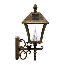 Gama Sonic - Gama Sonic GS-106W Baytown Solar Wall Lamp Weathered Bronze - Go green with our Baytown Solar Lamps. This solar powered lamp will fit great on pillars, fences, or any exterior walls.