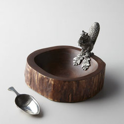 """Vagabond House - Vagabond House """"Squirrel"""" Nut Bowl with Scoop - A true conversation piece, this nut bowl comes with an adorable squirrel perched on the side and a scoop for serving nuts. Handcrafted of mango wood and pewter. 7""""W x 8.5""""D x 5""""T. Imported."""