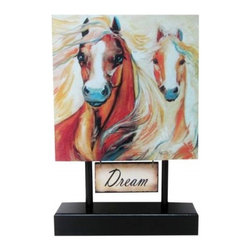 "Westland - Sundance Moonbeam ""Dream"" Two Horse Canvas with Black Pedestal Plaque - This gorgeous Sundance Moonbeam ""Dream"" Two Horse Canvas with Black Pedestal Plaque has the finest details and highest quality you will find anywhere! Sundance Moonbeam ""Dream"" Two Horse Canvas with Black Pedestal Plaque is truly remarkable."