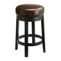 Sunpan Imports - Cedric Backless Upholstered Swivel Barstool in Brown - Cedric barstools can stand up to home and commercial use. Sturdy wood frames with circular foot rails and square posts are finished in black. Swivel seats are upholstered in brown bonded leather featuring heavy-duty double stitching around the rims and sides. Parlor style backless barstool with a swivel seat. Embossed bonded leather with a black frame and legs. No assembly required. 15.5 in. L x 15.5 in. W x 30 in. H
