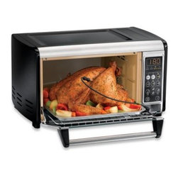 "Hamilton Beach - Hamilton Beach 6-Slice Set and Forget Toaster Oven - Toaster oven has a 6 slice or 12"" pizza capacity and has a sleek black and stainless steel design. It even fits a 7 pound chicken."