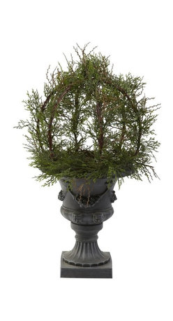 """30"""" Pond Cypress Topiary with Urn (Indoor/Outdoor) - Wow. . that's what everyone first says when they view this incredible 30 """" Pond Cypress Ball Topiary. It really has to be seen to be believed. Standing a full 30"""" high, this Cypress sports more than 200 lush faux leaves that reach in every direction. But the real beauty is how the stems rest on the stately grey and black urn. It's simply an amazing combination that will take everyone's breath away. Height= 30 In. x Width= 18 In. x Depth= 18 In."""