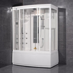 "Atlas International - Ariel ZA208 Right Steam Shower with Tub - Ariel ZA208 Right Steam Shower with tub 59x36x87; ETL listed (US & Canada electrical safety) 110v; Computer control panel with timer; Steam sauna with thermostatic control; Whirlpool massage jets; Acupuncture body massage jets; Overhead rainfall showerhead; Multifunctional handheld showerhead; Temperature setting/display; Aromatherapy (scented oils); Ventilation fan; Ceiling light; FM radio, external CD/MP3 player connection; Built-in seat; Available in left / right versions; Weight: 495 lbs; Dimensions: 59""L x 36""W x 87""H"