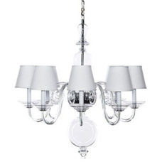 Traditional Chandeliers Anya BlownGlass Chandelier  White Shades