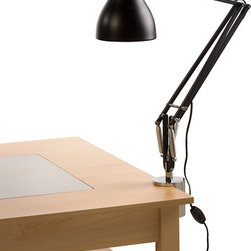 """Anglepoise - Type 75 Desk Clamp Lamp - Black - Anglepoise - For over 70 years, Anglepoise has created table lamps and table lights that are now British design classics. This version of the Type 75 was designed by Kenneth Grange and with its broad range of movement and classic looks it will suit a wide range of uses from reading in your arm chair to working at your desk. Try it in either the home or the office. The desk clamp will easily hold the lamp to tables with thickness from .5"""" to 2.3"""" and uses absolutely minimal desk space."""